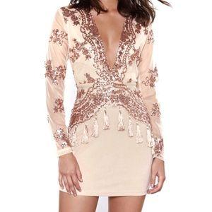 🆕{Nasty Gal} Nude Sequin Bodycon Dress